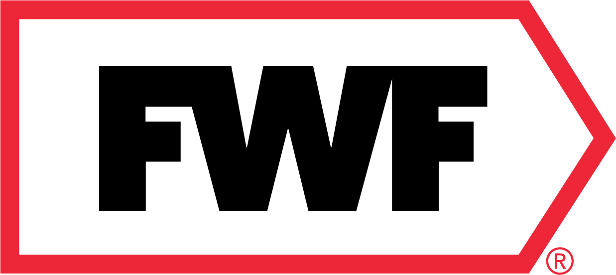 FWF logo with red border and black lettering.