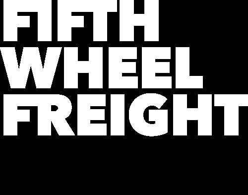Fifth Wheel Freight white logo with black arrow.
