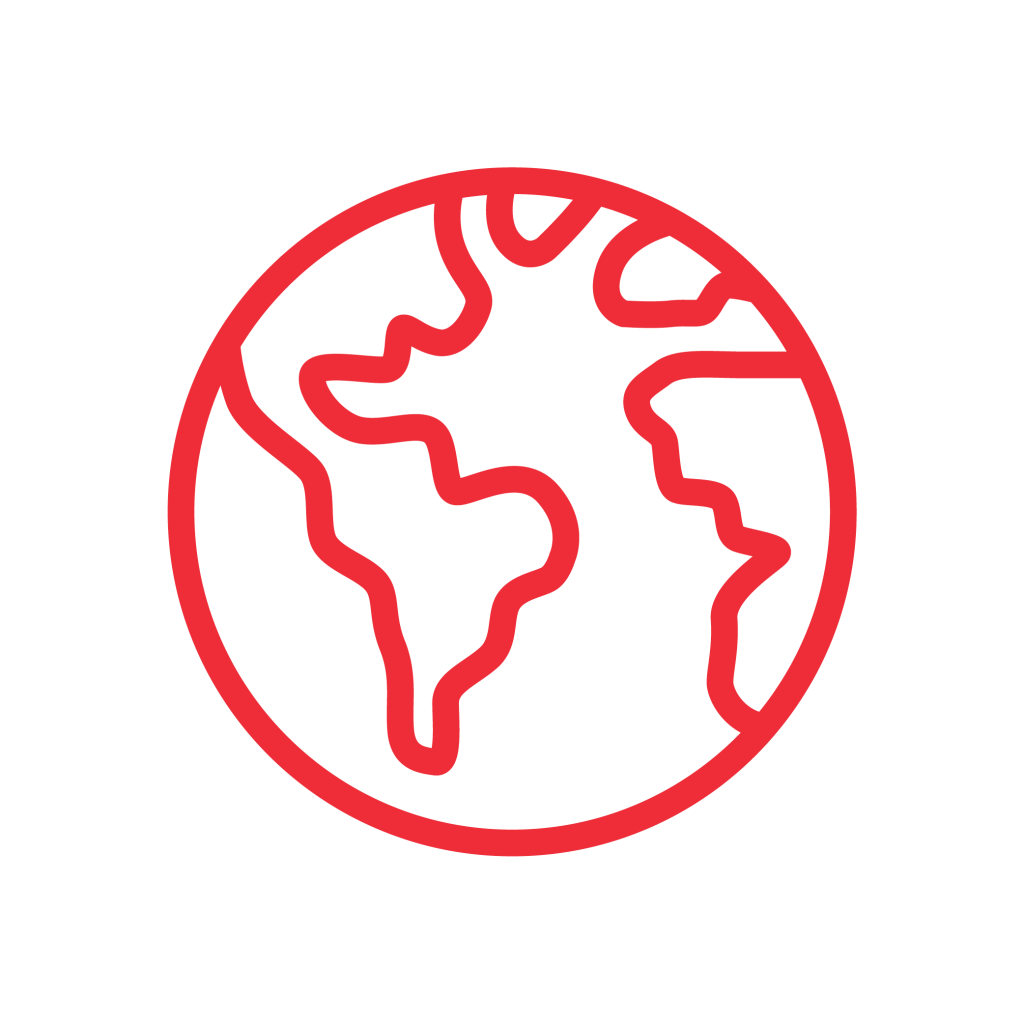 Red world icon.
